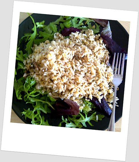 Dinner Day 14: Salad, Brown Rice & Red Lentils