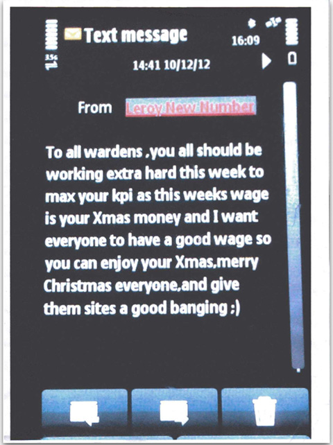 A Text message Sent To UKPC Employees To Motivate Their Xmas Income