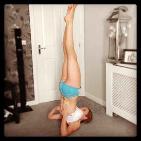 P90X Shoulder Stand Yoga Position