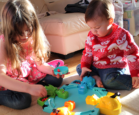 My Angels Playing Hungry Hippos