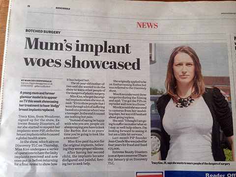 The Bucks Herald Newspaper Reports On My Breast Surgery Being Shown On TV