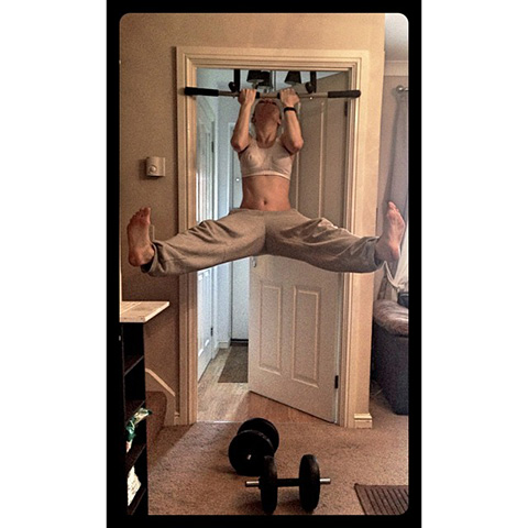P90X3 Reverse Grip Pull Up With Leg Extension