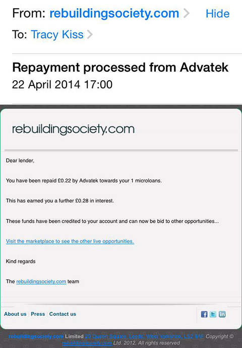 I Have Received A Repayment Of £0.22p From Advatek
