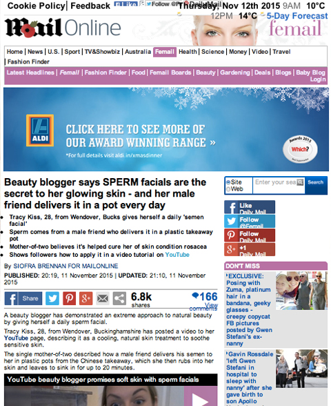 Tracy Kiss In The Mail Online