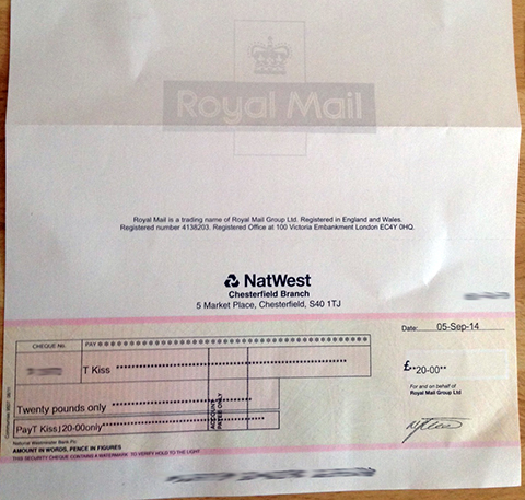 I Received A £20.00 Cheque From The Royal  Mail As Compensation Following A Postman Driving Dangerously
