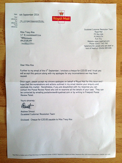 I Received This Letter From The Royal Mail Regarding Compensation For Their Dangerous Driver