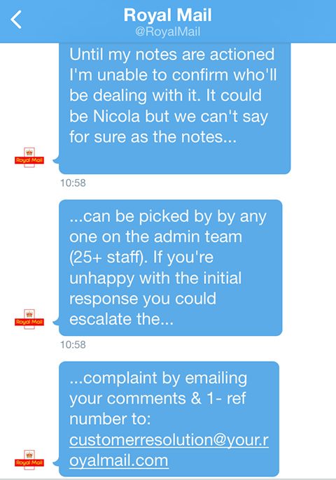The Royal Mails Twitter Response To My Complaint