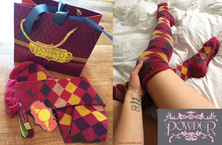 Powder Argyll Over The Knee Socks