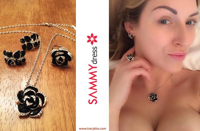Sammy Dress Rhinestone Black Rose Necklace, Earrings & Ring Set