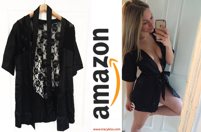 Amazon Wishlist Black Lace & Satin Robe