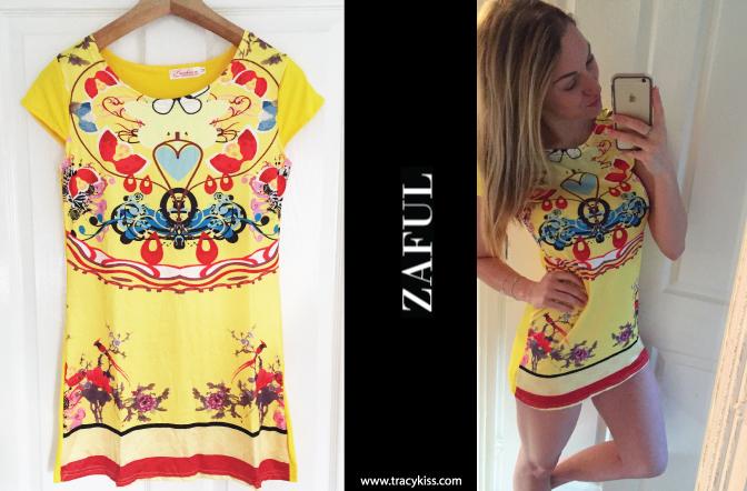 Zaful Yellow Boho Print Mini Dress