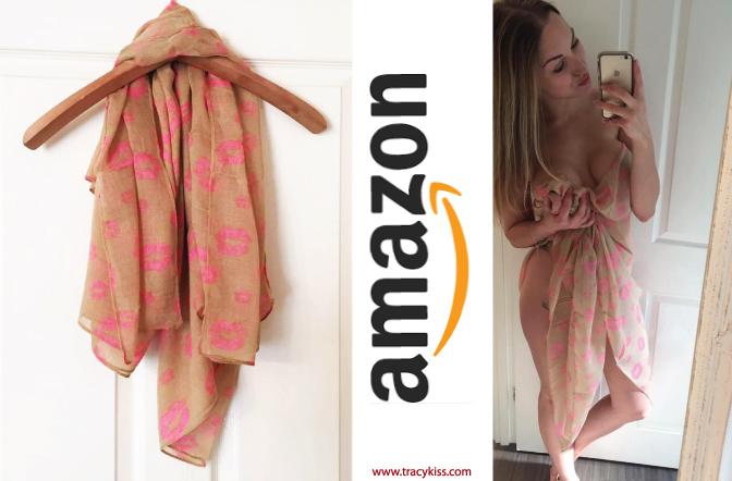 Amazon Wishlist Beige & Pink Lip Print Scarf