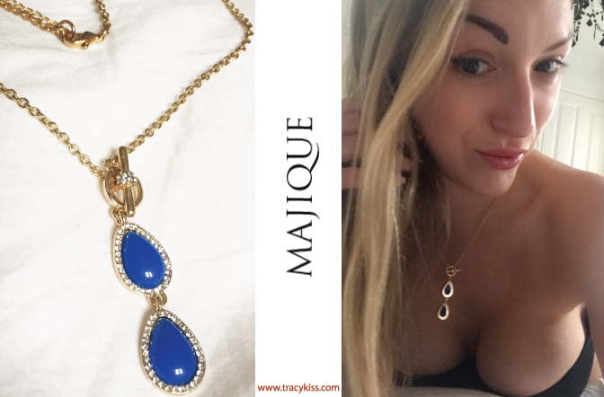 Majique Blue Teardrop Pendant Necklace