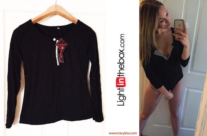 LightInTheBox Black Fitted Long Sleeve T-Shirt