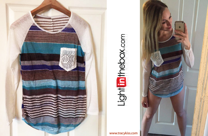 LightInTheBox Blue Striped Elongated T-shirt