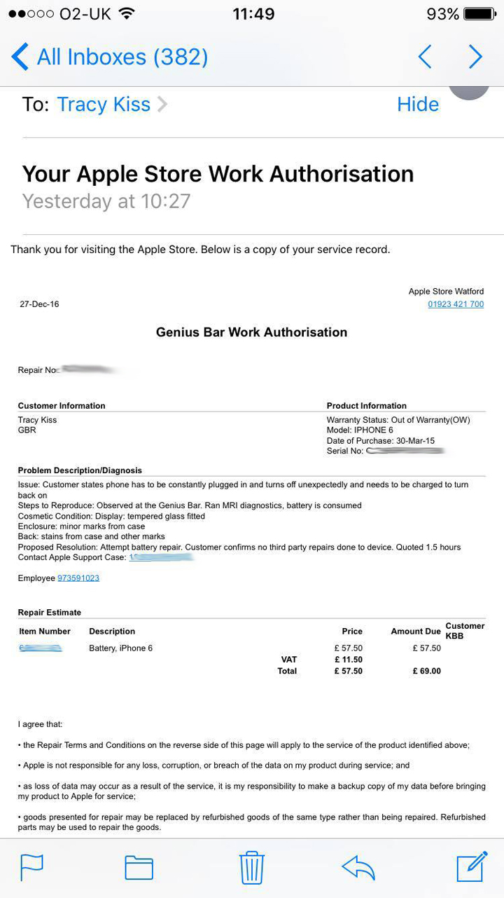 The Apple Store Watford Sent Me A Confirmation Email After My Battery Repair Which Showed My Camera And Speaker Weren't Already Damaged