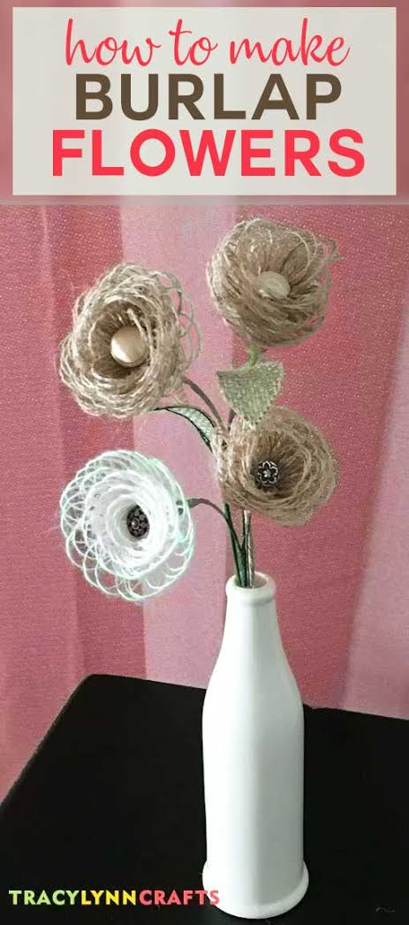 How to make these lovely DIY Burlap Flowers | easy step-by-step photo tutorial | fabric flowers | burlap flowers | #burlap #diy #flowers #spring #rolled #looped #loopy #stems