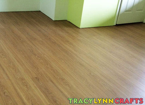 Cork-backed wood-look vinyl tiles laid in my home office
