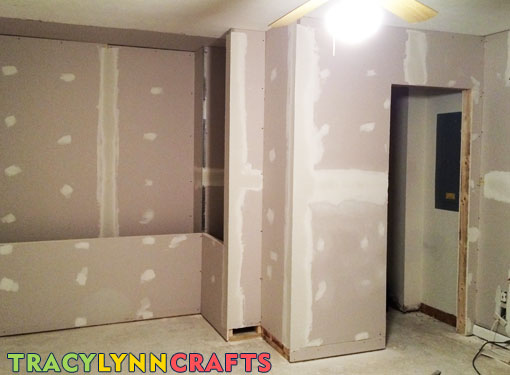 Drywall has been hung and ready for primer and paint