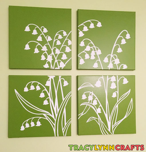The finished stenciled panels hang nicely decorate the wall