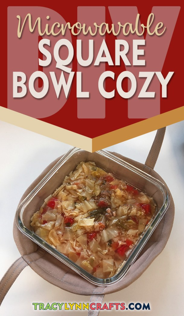 Make your own microwavable bowl cozy to fit your square glass bowls - including carry handles | #bowl_cozy #cozy #diy #sewing #fabric #bowlcozy