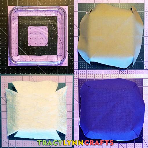 For the square bowl cozy construction, layer the fabric and batting in order over a square glass container