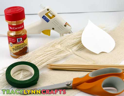 Materials to make the burlap calla lilies