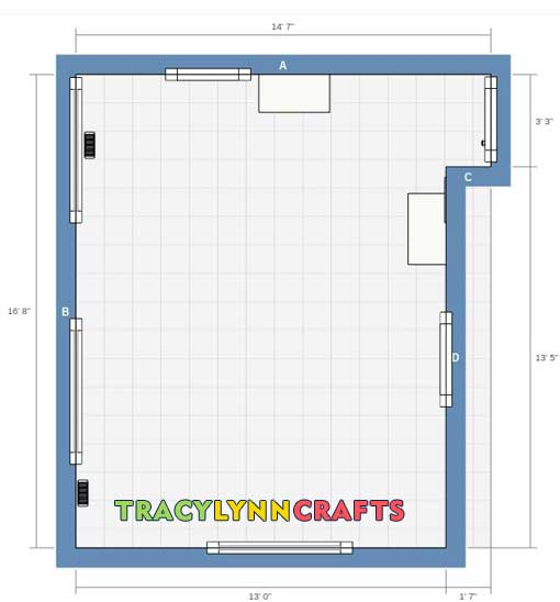 Craft Room organization starting floor plan with IKEA planner tool