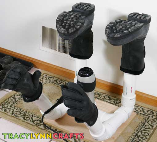 DIY boot dryer to dry boots, shoes, and gloves