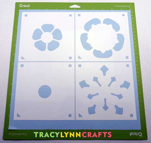The four layers of the Tudor Rose stencil cut from vinyl
