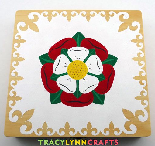 Stenciled Tudor Rose with hand embellishments