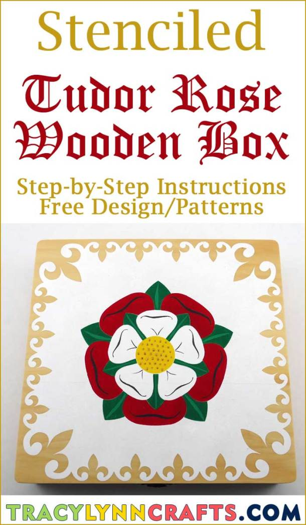 You can make this Stenciled Tudor Rose on a wooden cigar box | #diy #stencil #tudor #rose #stenciling