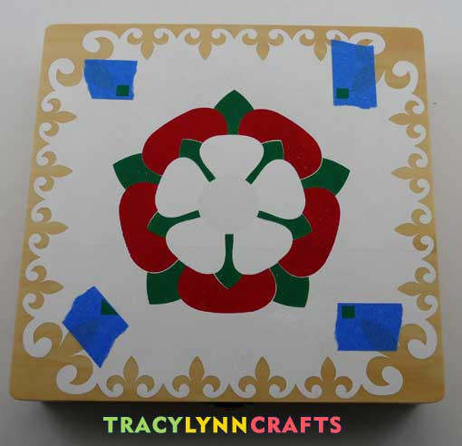 Apply and stencil the white petals layer of the Tudor Rose Stencil