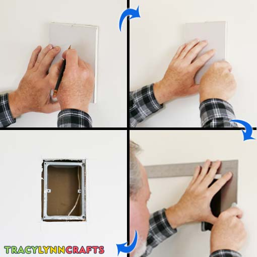 Trim the hole to fit the drywall plug