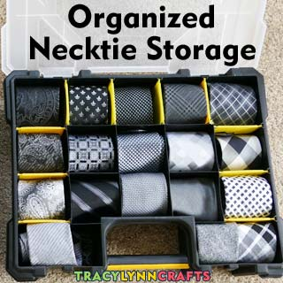 Quick and cool tie organization using small parts sorters
