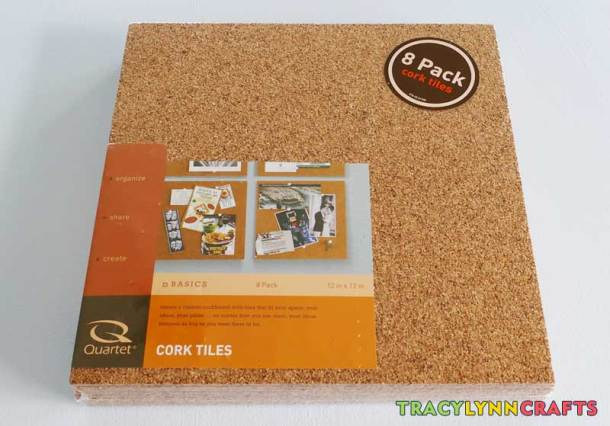 Cork tiles for a cork board on the barn door