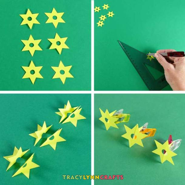Fold stars in half and glue one half to one half