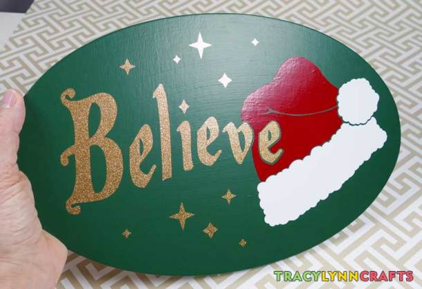 "The finished ""Believe"" plaque in vinyl"