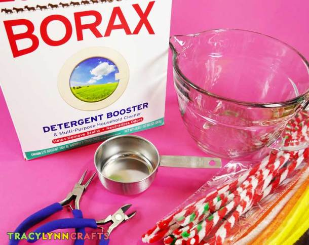 Materials are Borax, water, pipe cleaners, and optional tools to help you bend or cut the pipe cleaners