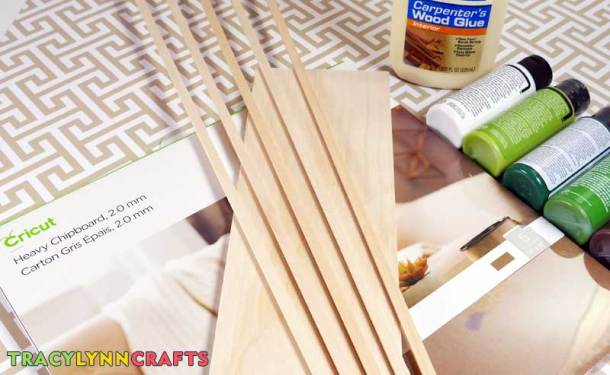 Materials and supplies to make the chipboard winter scene