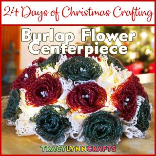 These loopy burlap flowers, dyed in red and green, make a charming holiday centerpiece for your Christmas decorating