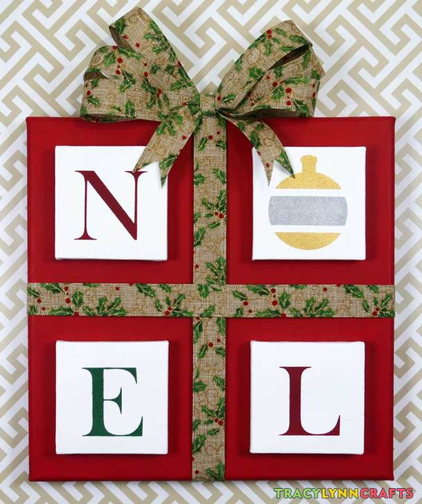 After applying the ribbon and a bow, this stenciled NOEL panel is ready to decorate your home