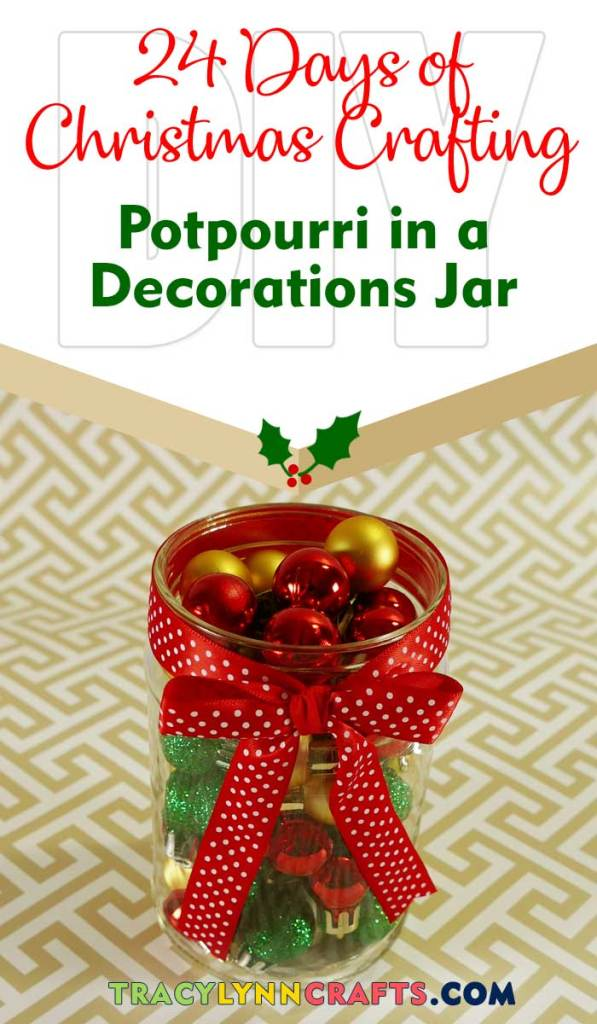 Add those crumbs from your bag of potpourri to this adorable jar filled with mini Christmas ornaments | #christmas #diy #potpourri