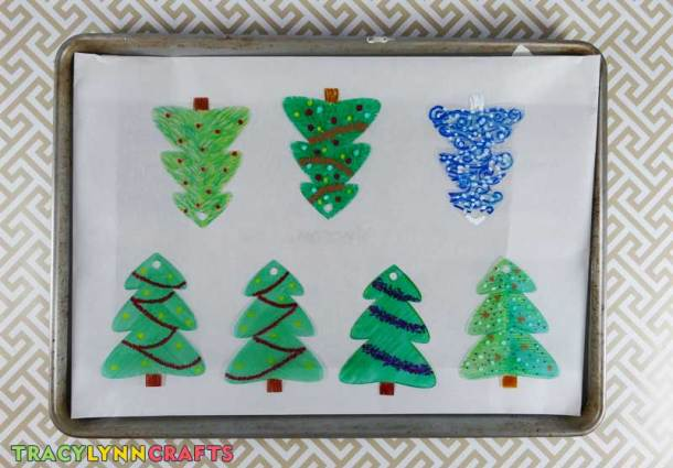 Lay the trees on the baking surface and place into the oven