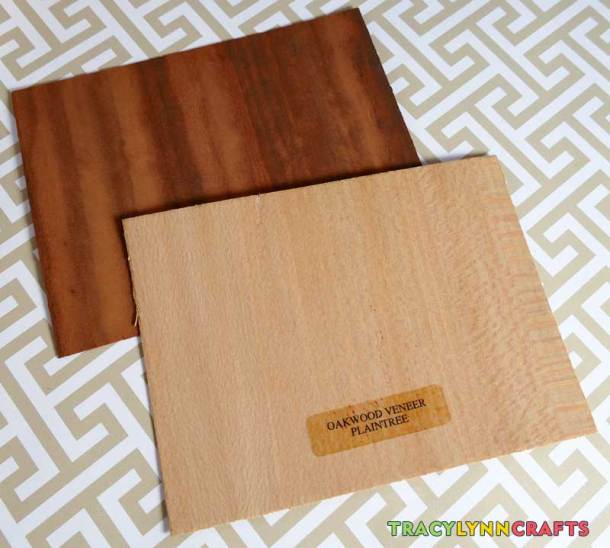 Use two contrasting varieties of wood veneer