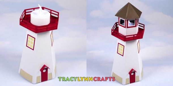 3D Paper Lighthouse - Add the LED tea light and cover