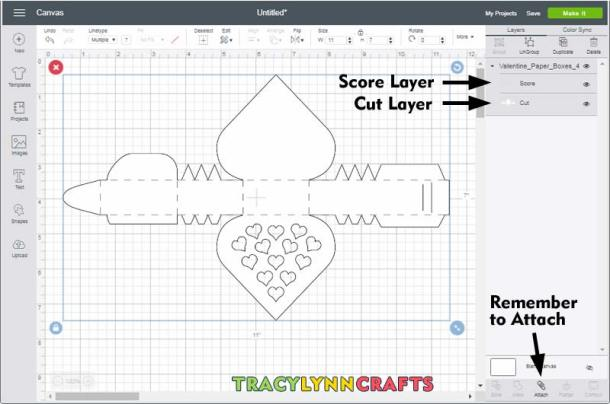 Remember to change the scoring layer from cut to score in Cricut Design Space then attach the whole design before making