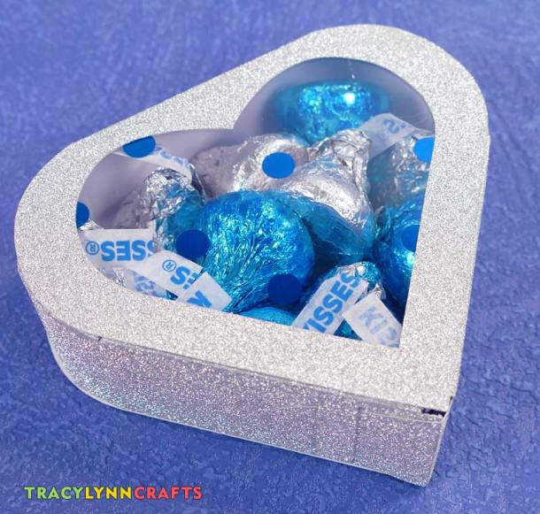 Heart box made from glitter paper with an acetate insert