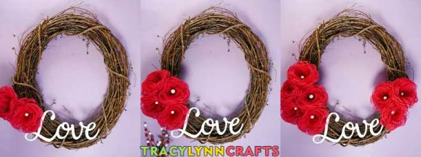 Loopy Burlap Flower Valentines Wreath - Add the flowers to the wreath