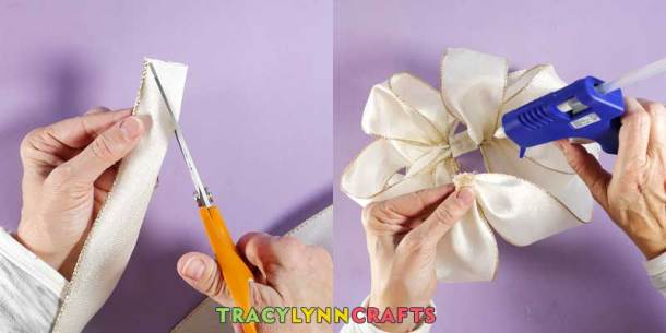 Loopy Burlap Flower Valentines Wreath - Clip the ends of the ties and glue to the back of the bow